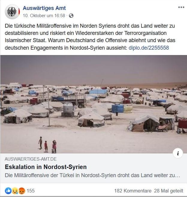 Das Auswärtige Amt kritisiert den türkischen Angriff in einem Post.