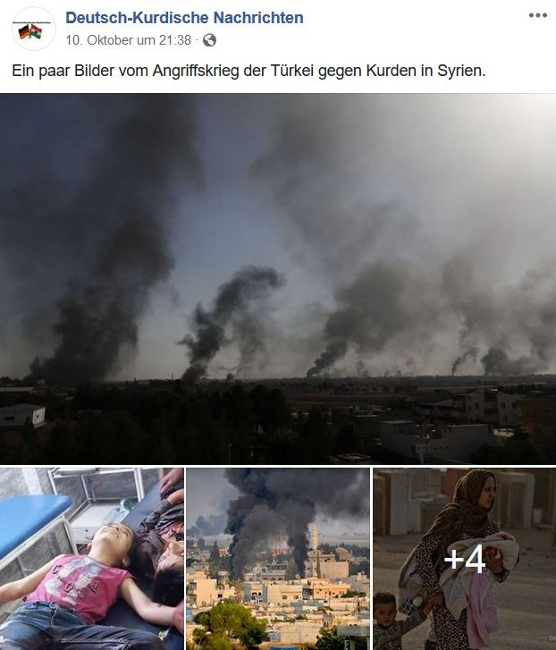 Ein Facebook-Post mit vier Fotos. Schwarze Qualmwolken nach einem türkischen Angriff. Verletzte.