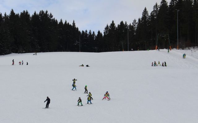 Skihang in Fischbach. Im oberen Bereich Fichtenbestände. Mehrere Skifahrer auf dem weißen Schnee.