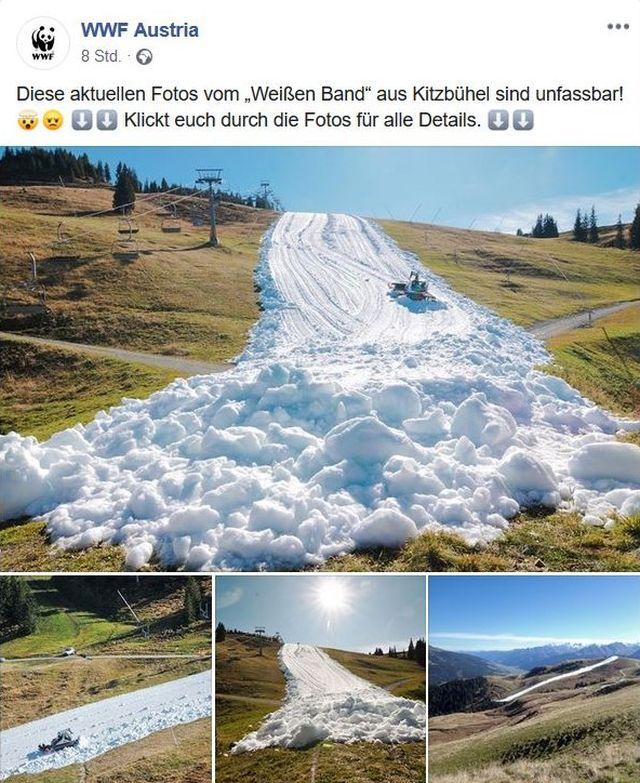 Facebook-Post des österreichischen WWF mit mehreren Fotos: Quer durch grüne Wiesen wird mit Altschnee eine Piste gebaut.