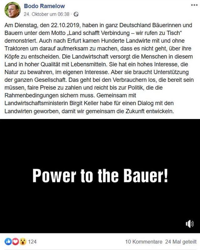 """""""Power to the Bauer!"""" schreibt Bodo Ramelow bei Facebook."""