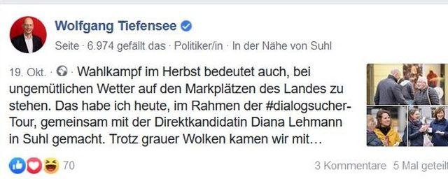 Post von Wolfgang Tiefensee zum schlechten Wetter im Wahlkampf.