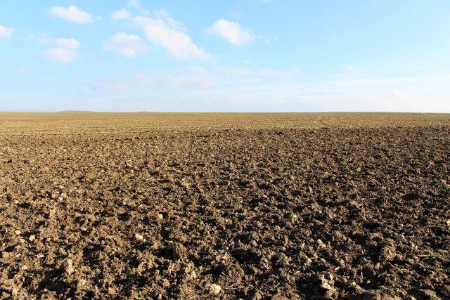 Braune Ackerfläche bis zum Horizont.