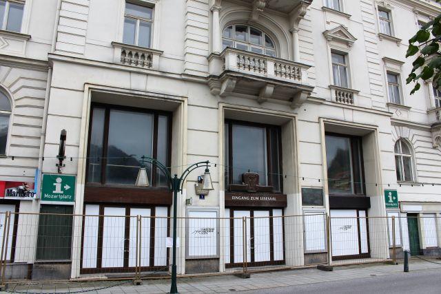 Eingang des früheren Hotels Austria.