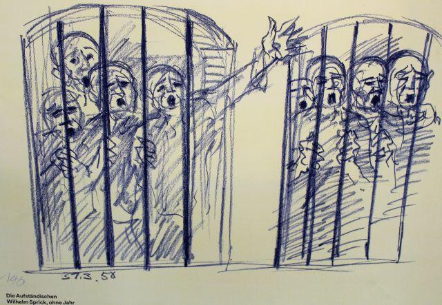 Zeichnungen eines Gefangenen, die den Aufstand darstellen. Menschen recken ihre Arme aus den Gittern.