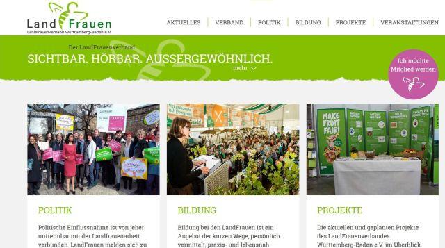 Internetseite in grün-weiß der Landfrauen Baden-Württemberg mit drei Fotos.