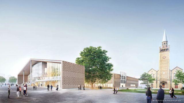 Visualisierung des Entwurfs. Das Gebäude ähnelt von der Konstruktion einer Scheune. GRoße Glasflächen sind integriert.