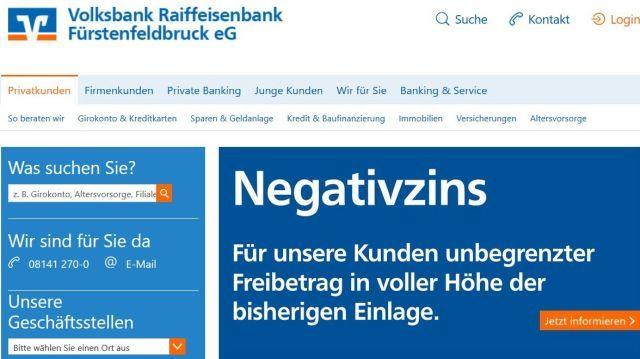 """Internetseite der Volksbank Raiffeisenbank Frstenfeldbruck. Titel """"Negativzins""""."""