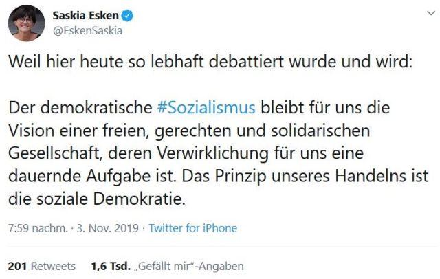 """Tweet von Saskia Esken zum Thema Sozialismus. Text:""""Der demokratische Sozialismus bleibt für uns die Vision einer freien, gerechten und solidarischen Gesellschaft, deren Verwirklichung für uns eine dauernde Aufgabe ist. Das Prinzip unseres Handelns ist die soziale Demokratie."""""""