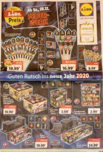 Ganzseitige Anzeige von Lidl mit Feuerwerksartikeln.