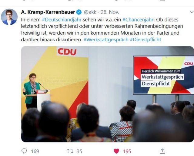 Tweet von Annegret Kramp-Karrenbauer zur Dienstpflicht.