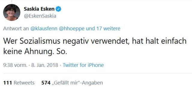 """Tweet von Saskia Esken. Text: """"Wer Sozialismus negativ verwendet, hat halt einfach keine Ahnung. So."""""""