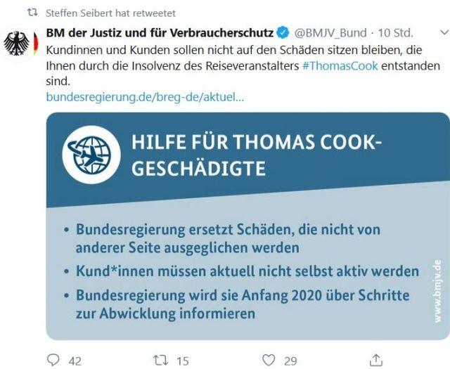 Tweet des Bundesjustizministeriums mit der Zusage, dass die Bundesregierung den verbleiebenden Schaden der Thomas Cook-Pleite trägt.