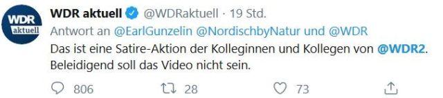 """WDR-Tweet mit Hinweis, es sei eine """"Satire-Aktion"""" gewesen."""