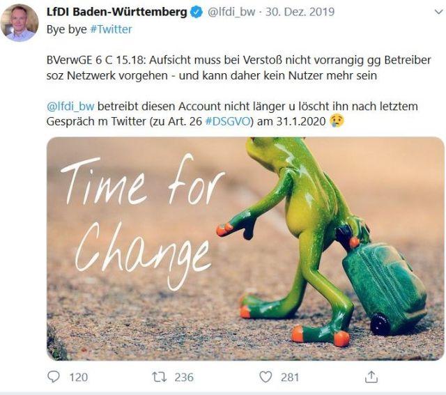 """Tweet von Stefan Brink mit einem gehenden Frosch, der seinen Koffer nachzieht. """"Bye, bye Twitter""""."""