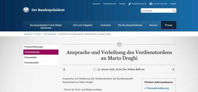 Mitteilung auf der Internetseite des Bundespräsidenten. Ansprache und Verleihung des Verdienstordens an Mario Draghi, so der Text.