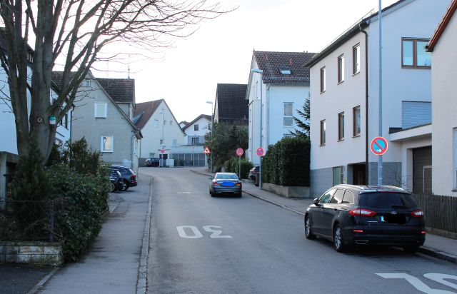 Straße mit aufgemalter 30. Rechts ein Fahrzeug im eingeschränkten Parkverbot, rechts ein Gehweg, an dessen Rand Efeublätter.