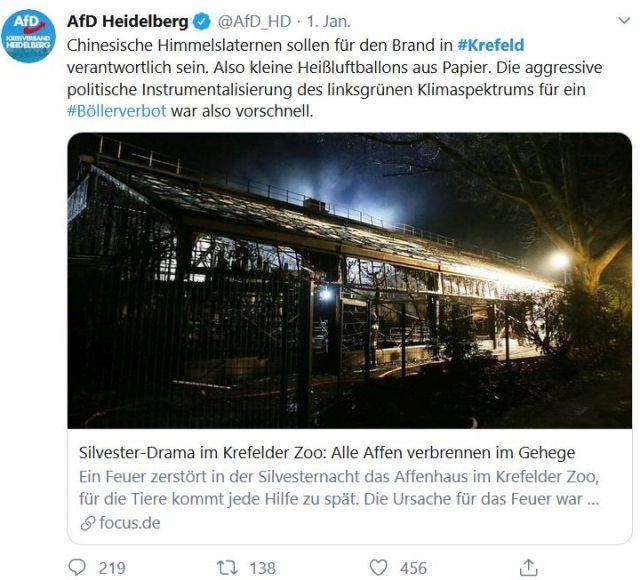 AfD-Tweet, in dem die Kritik an Böllern zurückgewiesen wird: das Affenhaus ei ja durch Himmelslaternen hervorgerufen worden.