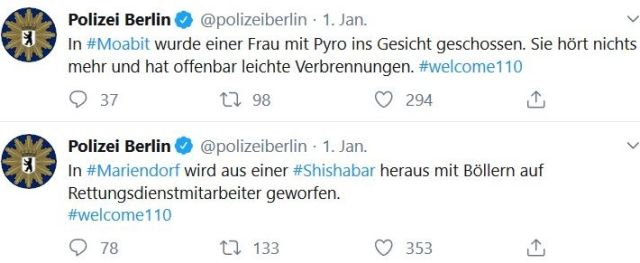 Zwei Tweets der Berliner Polizei: Frau von Pyrotechnik am Kopf getroffen, Böller aus Shishabar auf Menschen geworfen.