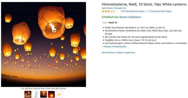 Buntgestaltete Anzeige bei Amazon für Himmelslaternen, die sich rötlich-gelb gen Himmel erheben.