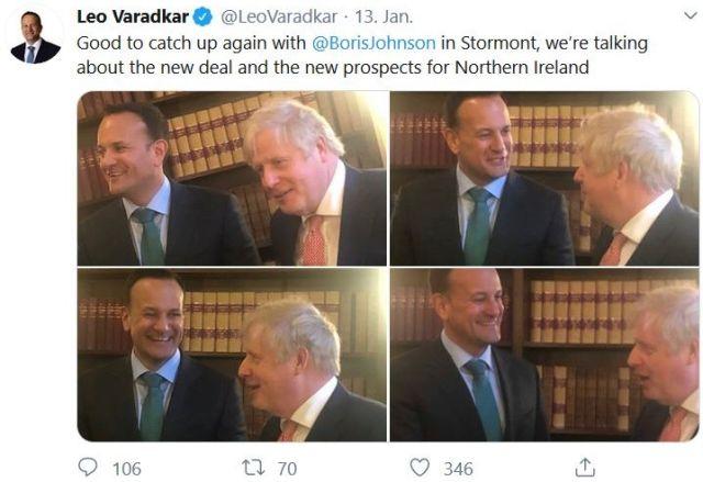 In einem Tweet vier Fotos mit Leo Varadkar und Boris Johnson.