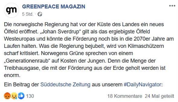 Screenshot eines Facebook-Posts des Greenpeace Magazins. Es werden neue Ölfunde gemeldet und kritisch behandelt.