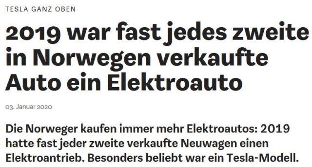 """Titel aus der Wirtschaftswoche: """"2019 war fast jedes zweite in Norwegen verkaufte Auto ein Elektroauto""""."""