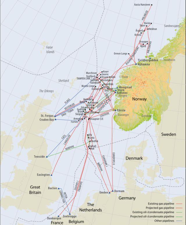 Karte mit den Ölpipelines in der Nordsee, die mit Norwegen zu tun haben.
