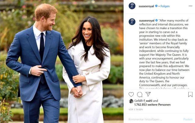 Harry im blauen Anzug und Meghan in einem hellen Mantel. Daneben auf der eigenen Instagram-Seite die Erklärung zum Rückzug.