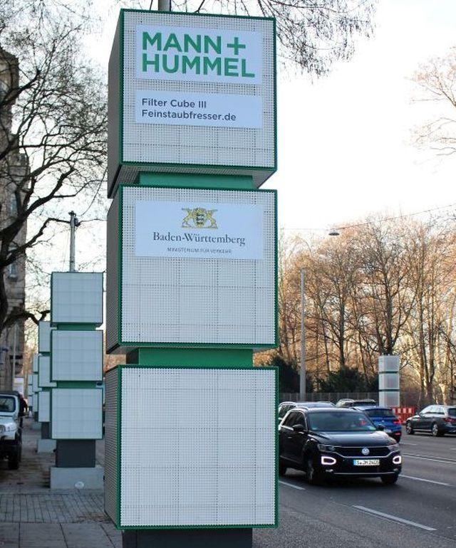 Feinstaubfresser am Neckartor in Stuttgart. Die Filteranlage soll die Feinstaubbelastung reduzieren.