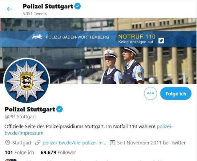 Twitter-Seite der Polizei Stuttgart. Zwei Polizeibeamte in Uniform.