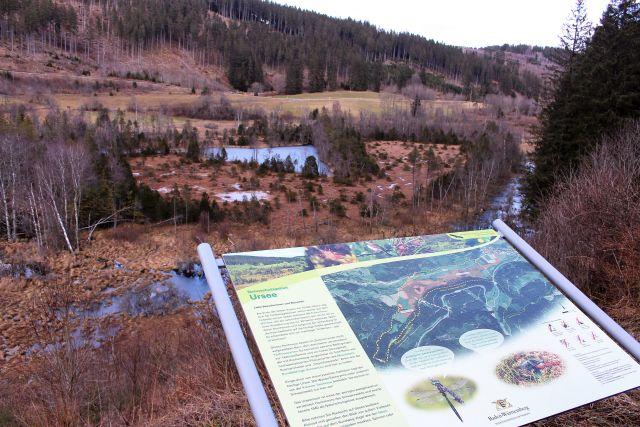 Farbig gestaltete Informationstafel im Vordergrund, dahinter das Urseetal.