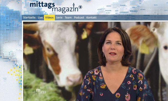 Annalena Baerbock mit einer eingeblendeten Kuh im Hintergrund.