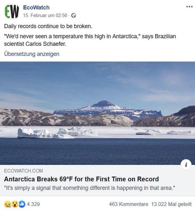 Facebook-Post zur Erwärmung in der Antarktis.