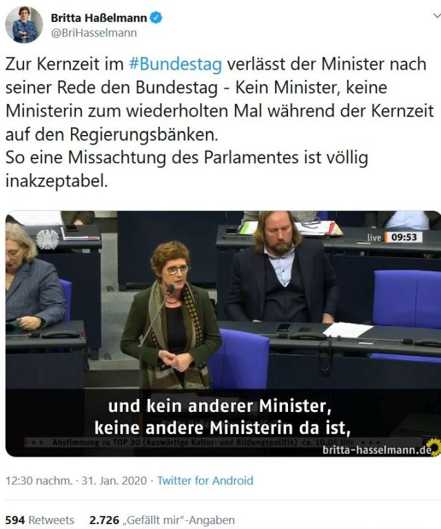 Abgeordnete Haßelmann bantragt Unterbrechung der Sitzung.