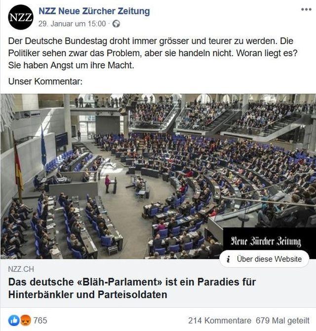 """Post der NZZ mit Bild des Plenarsaals des Bundestags und dem Titel: """"Das deutsche 'Blä-Parlament' ist ein Paradies für Hinterbänkler und Parteisoldaten""""."""