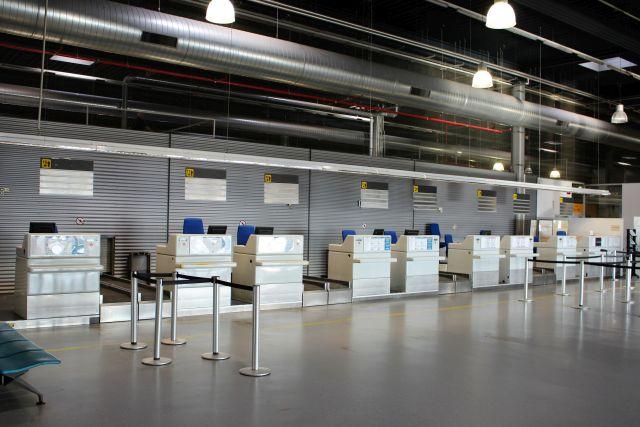 Leere Schalter in Hahn. Terminal 2.