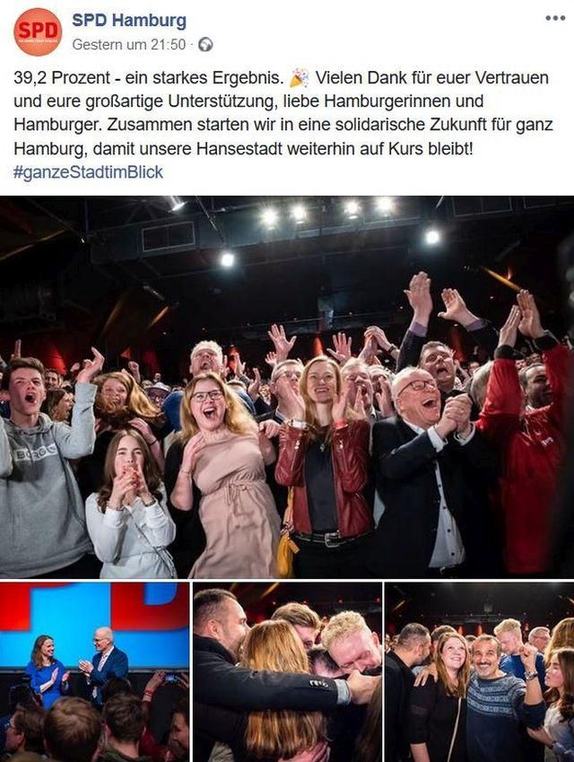 Wahlparty der SPD in Hamburg. Begeistert reißen die Anwesenden die Arme in die Höhe.