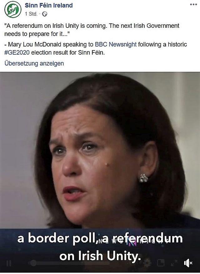 Mary Lou McDonald in einem Facebook-Post. Sie setzt sich für die Wiedervereinigung Irlands ein.