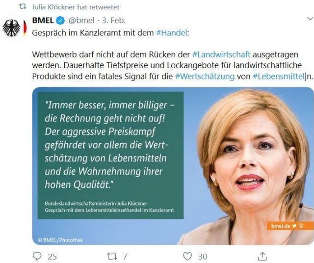 """Tweet, den Julia Klöckner retweetet hat. Sie ust mit Bild zu sehen und der Aussage """"Immer besser, immer billiger, die Rechnung geht nicht auf!"""""""