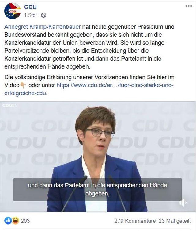 Facebook-Post der CDU mit Foto von Annegret Kramp-Karrenbauer mit blauer Jacke und weißer Bluse. Sie erklärt den Verzicht auf die Kanzlerkandidatur und den Rückzug als CDU-Vorsitzende.