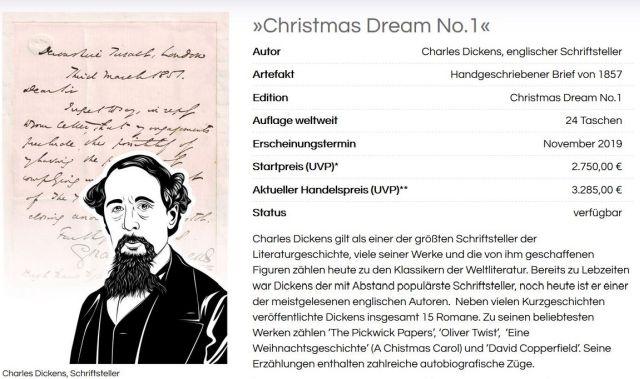 Werbung mit Charles Dickens. Ein Fragment eines seiner Briefe soll den Verkauf der Taschen anregen.