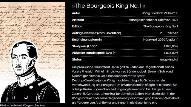 Der preußische König Friedrich Wilhelm III. in einer Sekrè-Werbung.