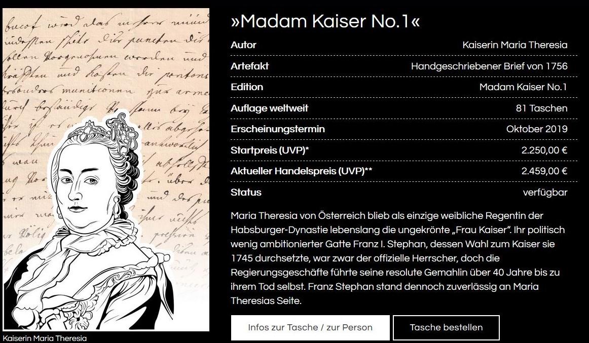 Zeichnung - Brustbild - von Maria Theresia in einer Werbeung von Sekrè.