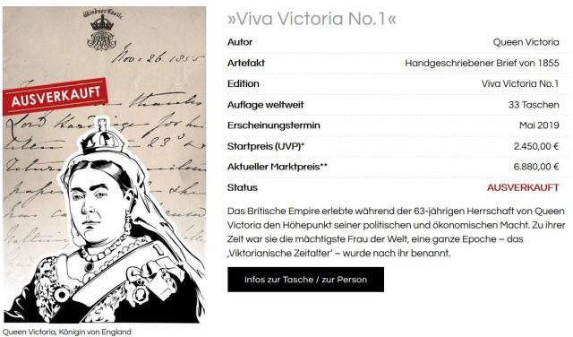 Anzeige mit einer Zeichnung des Oberkörpers von Königin Vivtoria in einer Werbeung für Handtaschen.