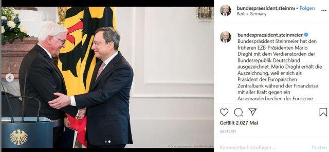 Mario Draghi und Frank-Walter Steinmeier in einem Tweet.