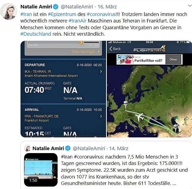 Tweet von Natalie Amiri mit einer Karte, die die Flugrouten zwischen Iran und Deutschland zeigt sowie einem Ausschnitt aus einer Anzeigetafel mit dem entsprechenden Flug.