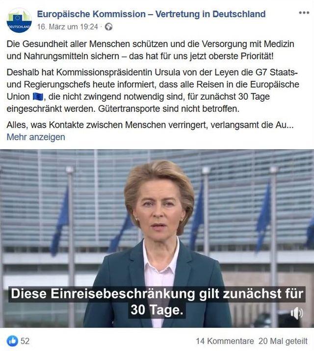 Ursula von der Leyen in einem Facebook-Post zur Schließung der EU-Außengrenzen. Im Hintergrud EU-Flaggen.