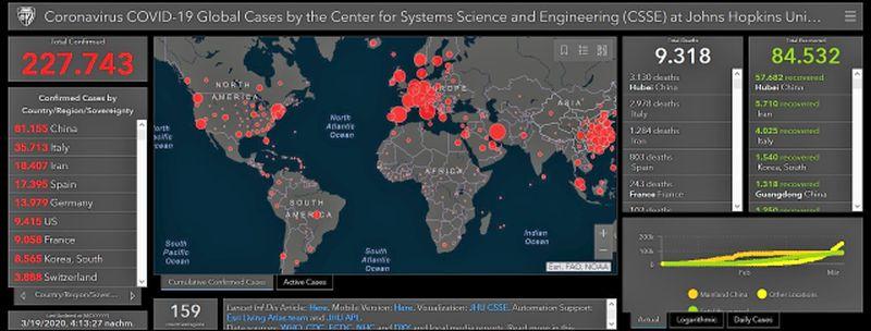 Weltkarte mit roten Kreisen, die die Zahl der Corona-Infizierten anzeigen.