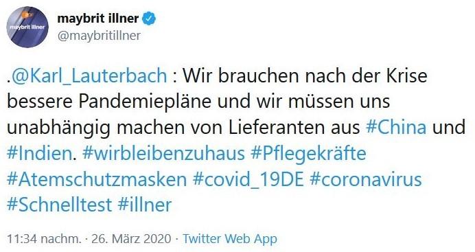 """Karl Lauterbach in einem Tweet: """"Wir brauchen nach der Krise bessere Pandemiepläne und wir müssen uns unabhängig machen von Lieferanten in China und Indien."""""""